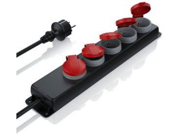BEARWARE Bearware 5-fach Outdoor Verteilersteckdose mit Sicherheitsklappdeckel »integrierter Kinderschutz«, schwarz, schwarz/rot