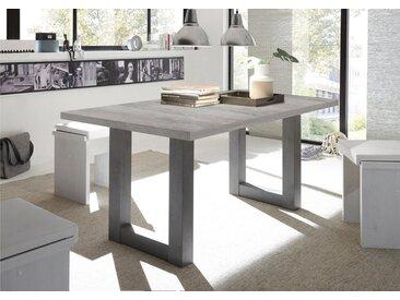 Esstisch, mit Auszug, Breite 160-210 cm, grau, Synchron-Auszug, Breite 160 cm, graphit/Beton-Optik