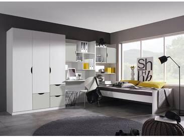 rauch Kinderzimmer-Set »Fosco« (4-tlg.), weiß, Set mit 3-trg. Schrank, weiß/Seidengrau