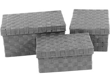 Franz Müller Flechtwaren Aufbewahrungsbox (Set, 3 Stück), mit Deckel, grau, 313539x212527x14169 cm, grau