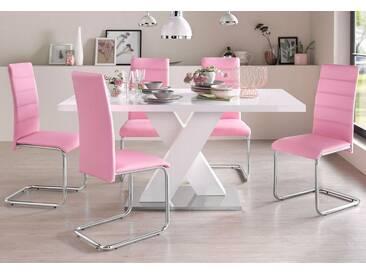 Essgruppe (5-teilig), weiß, pink/weiß Hochglanz