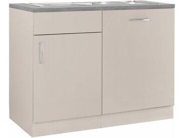 wiho Küchen Spülenschrank »Brüssel« mit Tür/Sockel für Geschirrspüler, natur, Cashmere matt - APL Betongrau