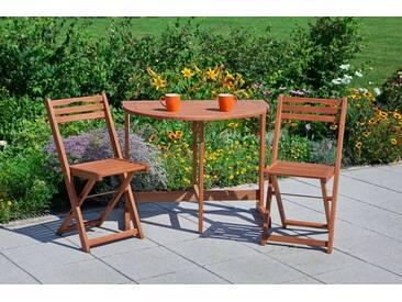 MERXX Gartenstuhl »Porto«, (2er Set), Eukalyptusholz, klappbar, braun, braun, 2 Stühle, braun