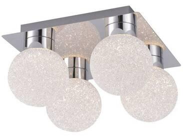 Leuchten Direkt LEUCHTEN DIREKT LED-Deckenleuchte, Crackle Kugel RGBW 4-flammig »MIKO«, silberfarben, chromfarbig