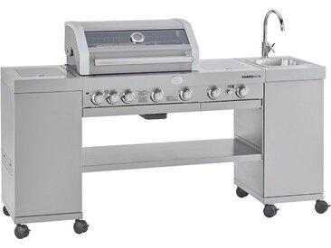 ROESLE Gasgrill BBQ-Kitchen Videro G4-SK Edelstahl, Outdorrküche mit integriertem Edelstahl-Waschbecken mit Wasserhahn, Modell 2019, silberfarben