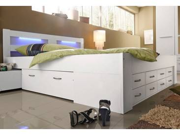 Breckle Bett, weiß, Kaltschaummatratze H2, weiß