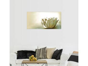 Posterlounge Wandbild - Christine Ganz »weißer Lotus«, natur, Holzbild, 160 x 80 cm, naturfarben