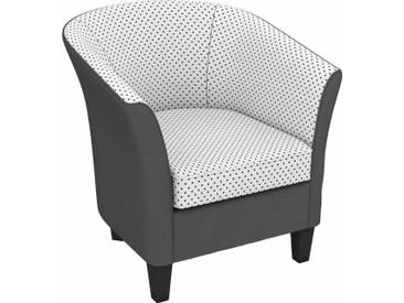 Max Winzer® build-a-chair Cocktailsessel »Luisa« in runder Form, zum Selbstgestalten, rot, Korpus: Kunstleder 20701 grau, Flachgewebe 20779 PUNKTE rot