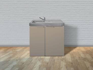 Stengel Metall-Miniküche Kitchenline MK 90, mit Kühlschrank, ohne Kochfeld, Spülbecken links, Breite 90 cm, sand