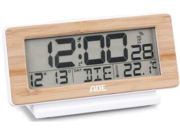 ADE DCF-Funkwecker mit Temperatur- und Datumsanzeige CK 1703, Schlummern leicht gemacht – dank extra großer Snoozetaste, natur, bambus-weiß