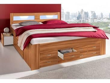 Breckle Bett, braun, Federkernmatratze, nussbaumfarben