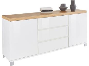 HMW Kommode »Thila«, Breite 168 cm, 2-türig, weiß, weiß Hochglanz/Balkeneichefarben