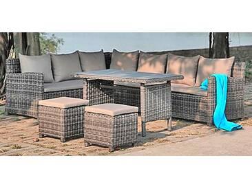 Garden Pleasure GARDEN PLEASURE Loungeset »OVIEDO«, 19-tlg., 2 Bänke, 2 Stühle, Tisch 71x121, Polyrattan, grau, grau