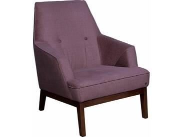 TOM TAILOR Sessel »COZY«, im Retrolook, mit Kedernaht und Knöpfung, Füße nussbaumfarben, lila, purple TUS 38