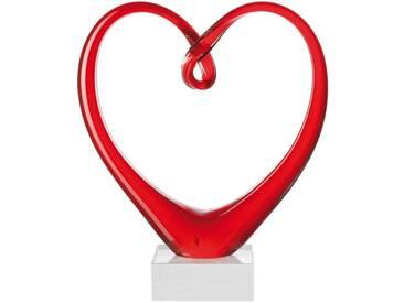 LEONARDO Skulptur, Glas, 24 cm, »Heart«, rot, rot
