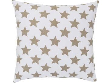 ELBERSDRUCKE Kissen, Elbersdrucke, »STARS ALLOVER« (1 Stück), weiß, Baumwolle, weiß-braun