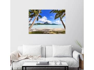 Posterlounge Wandbild - Matteo Colombo »Palmen am Strand, Bora Bora«, bunt, Leinwandbild, 120 x 80 cm, bunt