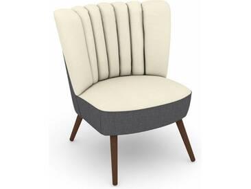 Max Winzer® build-a-chair Stuhlsessel »Aspen« im Retrolook, zum Selbstgestalten, natur, Korpus: Flachgewebe 16452 grau, Flachgewebe 16452 creme