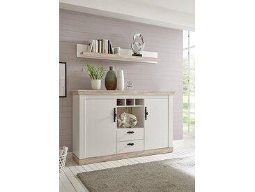 Home affaire Sideboard »Florenz« im romantischen Landhaus-Look, Breite 168 cm, weiß, Pinie weiß