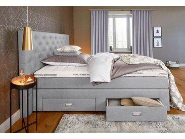Guido Maria Kretschmer Home&Living GMK Home & Living Boxspringbett »Aivi«, mit Schubkästen, grau, Bonnell-Federkernmatratze H2, steingrau
