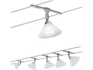 Paulmann LED Deckenleuchte »Seilsystem Colmar Chrom mit 5 Spots max. 10W GU4«, Seilsystem, 5-flammig, silberfarben, 5 -flg. /, chromfarben-weiß