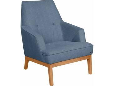 TOM TAILOR Sessel »COZY«, im Retrolook, mit Kedernaht und Knöpfung, Füße Buche natur, blau, sky blue TUS 6