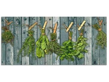 Artland Küchenrückwände »Team 5: Kräuter mit Holzoptik«, grün, 55x120 cm, Grün