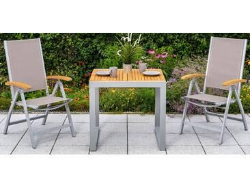MERXX Gartentisch »Naxos«, Eukalyptus/Alu, ausziehbar, 120 x70 cm, natur, natur, 70 cm x 120 cm, beige/silber