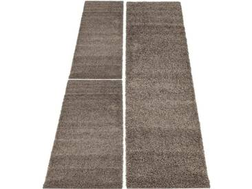Carpet City Bettumrandung »Shaggi uni 500« , höhe 30 mm, (3-tlg), braun, 30 mm, mokka