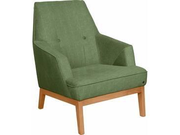 TOM TAILOR Sessel »COZY«, im Retrolook, mit Kedernaht und Knöpfung, Füße Buche natur, grün, pistachio TUS 5
