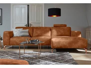 Guido Maria Kretschmer Home&Living Ecksofa »Reval«, braun, 295 cm, Recamiere rechts, cognac
