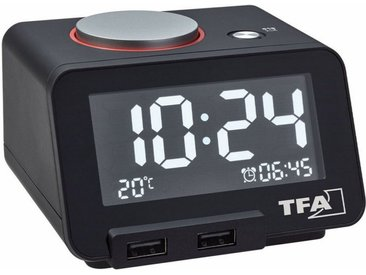 TFA Dostmann Digitaler Wecker mit USB Ladefunktion »HOMTIME«, schwarz, schwarz