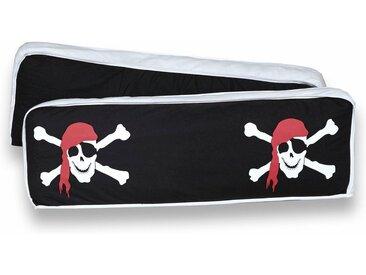 Ticaa Rückenkissen-Set, 2-teilig, schwarz, 98x40 cm, Pirat, schwarz-weiß