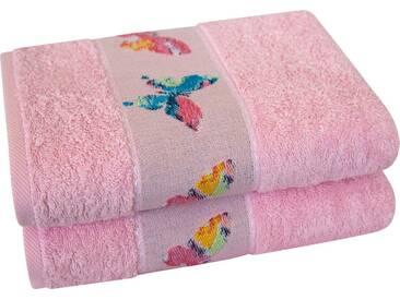 Dyckhoff Handtücher »Schmetterling«, mit schöner Schmetterlingsbordüre, rosa, Walkfrottee, rosa