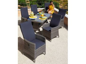 MERXX Gartenmöbelset »Ravello«, 13-tlg., 6 Sessel, Tisch 150x80 cm, Polyrattan, grau/beige, natur, beige