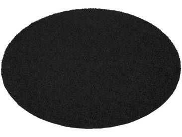 my home Hochflor-Teppich »Bodrum«, rund, Höhe 30 mm, schwarz, 30 mm, schwarz