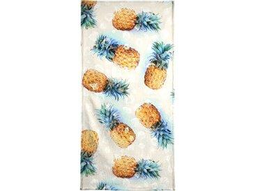 Juniqe Strandtuch »Pineapples + Crystals«, Weiche Frottee-Veloursqualität, weiß, Frotteevelours, grau-grün-gelb