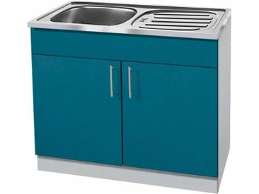 wiho Küchen Spülenschrank »Kiel«, Tiefe 50 cm, blau, Ozeanblau