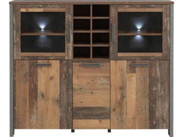 FORTE Highboardvitrine »CLIF«, Breite 151,3 cm, natur, Old Wood Vintage/ Beton-Optik