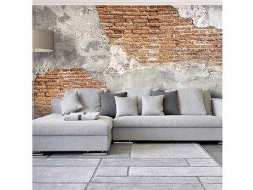 Bilderwelten Vliestapete Premium - Floral Heart - Fototapete Breit »Shabby Backstein Wand«, grau, 225x336 cm, Grau