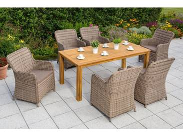 MERXX Gartenmöbelset »Lissabon«, 13-tlg., 6 Sessel, Tisch 185x90 cm, Polyrattan/Akazienholz, natur, natur