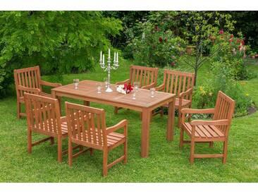 MERXX Gartenmöbelset »Santos«, 7tlg., 6 Sessel, Tisch, Eukalyptuzsholz, natur, natur, natur