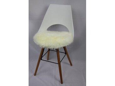 Heitmann Felle Sitzkissen »Sitzauflage Lamm rund«, echtes Lammfell, weiß, weiß