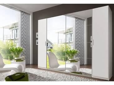 Wimex Dreh-/Schwebetürenschrank »Lotto«, weiß, Breite 270 cm, ingesamt 10 Böden, mit Aufbauservice, mit Aufbauservice, weiß/Spiegel