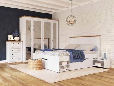 Home affaire Stauraumbett »Banburry« inklusive 2 Schubladen und 2 ausziehbaren Ablageflächen, weiß, weiß-eichefarben