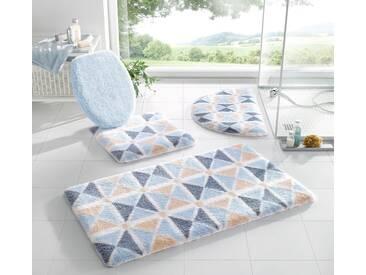 Kleine Wolke Badeteppich, blau, beige-blau
