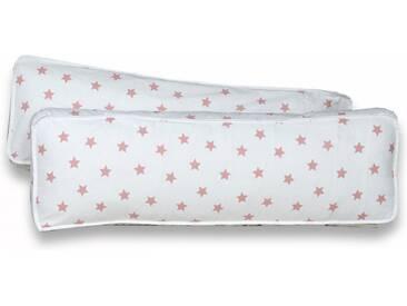Ticaa Rückenkissen-Set, 2-teilig, weiß, 98x40 cm, Stern weiß-rosa