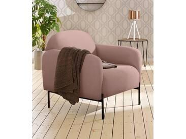 andas Sessel »Bold«, edles, skandinavisches Design, mit Stahlbeinen, rosa, rosé
