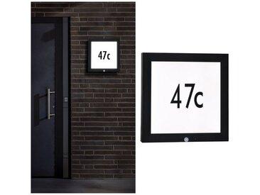 Paulmann LED Außen-Wandleuchte »Panel 40x40 cm IP44 13W 230V Anthrazit Hausnummer mit Bewegungsmelder«, grau, H:40 cm, anthrazit
