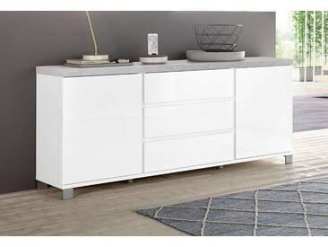 HMW Kommode »Thila«, Breite 168 cm, 2-türig, weiß, weiß Hochglanz/Beton-Optik